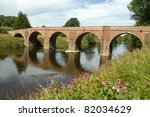 The Bredwardine Bridge over river Wye in Herefordshire, England. - stock photo