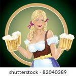 waitress with beer in hands.