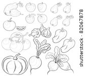 set  various vegetables and... | Shutterstock . vector #82067878