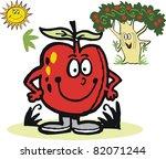 vector cartoon of smiling red... | Shutterstock .eps vector #82071244