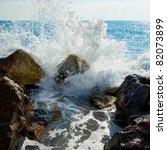 Sea  Big Wave And Splash Over...