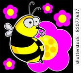 flower pattern with bee | Shutterstock .eps vector #82077637