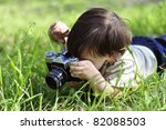 Boy With Vintage Film Camera