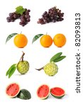 large page of fruits isolated... | Shutterstock . vector #82093813