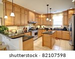 Stock photo beautiful upscale kitchen with maple cabinets 82107598