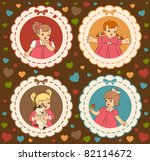 vintage cartoon little girls on ... | Shutterstock .eps vector #82114672