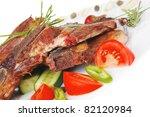 red beef meat steak on white... | Shutterstock . vector #82120984
