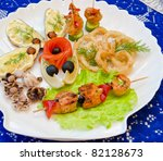 variety eatable seafood set on the table - stock photo