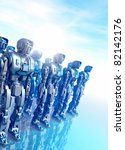 Several rows of large metal robots standing on a reflective surface - stock photo