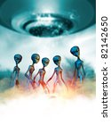 Conceptual image of a group of five aliens greys in the mist below a large UFO - stock photo