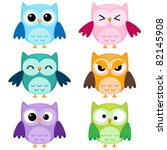 Stock vector set of six cartoon owls with various emotions first set of two 82145908