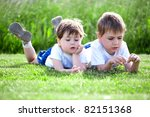 tow cute preschool siblings...   Shutterstock . vector #82151368