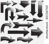 set of black arrows stickers. | Shutterstock . vector #82156765