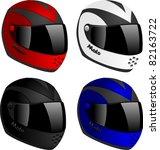 vector motorcycle helmets set | Shutterstock .eps vector #82163722