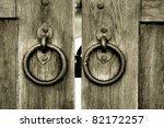 Ancient Wooden Gate With Two...