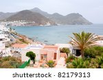 Touristic village of San Jose and its beach in Almeria, Andalusia, Spain. - stock photo
