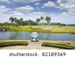 Beautiful morning in a golf course - stock photo