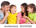 happy family of a four smiling... | Shutterstock . vector #82194328