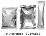 collection of various aluminum bags on white background - stock photo
