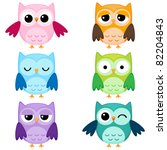 Set Of Six Cartoon Owls With...