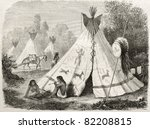 old illustration of a tepee in... | Shutterstock . vector #82208815