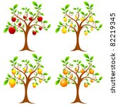 Illustration Of Set Of Apple...