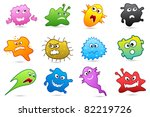 illustration of set of colorful germs on white background - stock vector