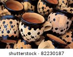 Pile of Clay mugs in Medina marketplace, Meknes, Morocco. - stock photo