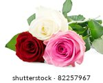 Mixed Roses Isolated On White...