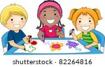 illustration of kids drawing | Shutterstock .eps vector #82264816
