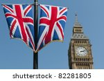 Two Union Flags Flying In Fron...