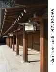 Temple detail at Meiji Shrine in Tokyo, Japan. - stock photo