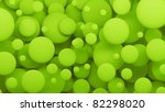 bubbles 3d  abstract background green - stock photo