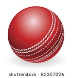 Illustration of shiny red traditional cricket ball - stock photo