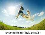 Stock photo dog catching a ball in mid air 82319515