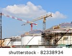building  oil depot terminal - stock photo