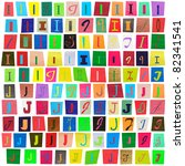 colorful newspaper alphabet of... | Shutterstock . vector #82341541