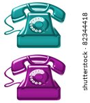 blue and violet old telephone... | Shutterstock . vector #82344418