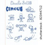 Funny Doodle Set With A Circus...