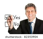 Businessman making decision - stock photo
