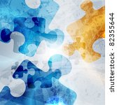Stock photo vintage corporate background abstract puzzle shape colorful design 82355644