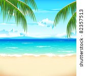 illustration of sea beach with... | Shutterstock .eps vector #82357513