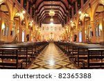 Interior inside the cathedral of the immaculate conception, Chanthaburi, Thailand