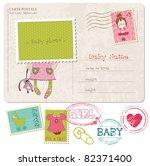 baby girl greeting postcard... | Shutterstock .eps vector #82371400