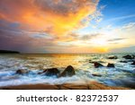 Tropical Colorful Sunset At Th...