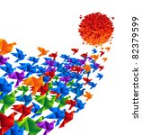 Origami birds fly to the sun - Raster version - stock photo