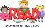Illustration of Kids Reading Different Books - stock vector