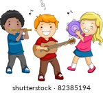Illustration of Kids Playing Different Musical Instruments - stock vector