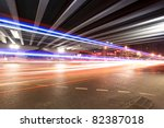 light trails under the viaduct at night in beijing,China - stock photo