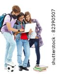 three teenagers studying with... | Shutterstock . vector #82390507